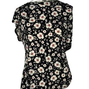 Liz Claiborne Short Sleeve Black White Floral M